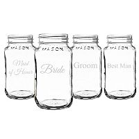 Cathy's Concepts Wedding Party 4 pc Mason Jar Set