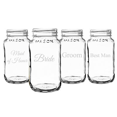 Cathy's Concepts Wedding Party 4-pc. Mason Jar Set