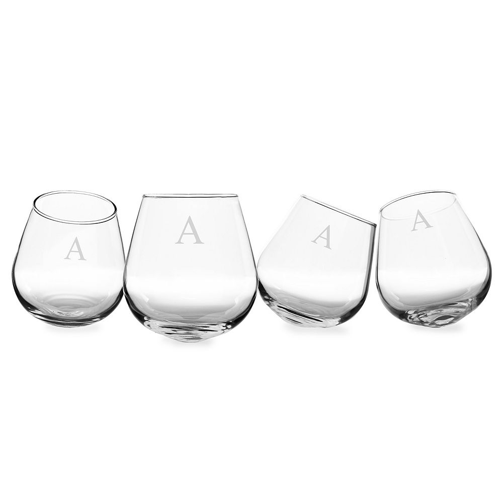 Cathy's Concepts Monogram 4-pc. Tipsy Wine Glass Set