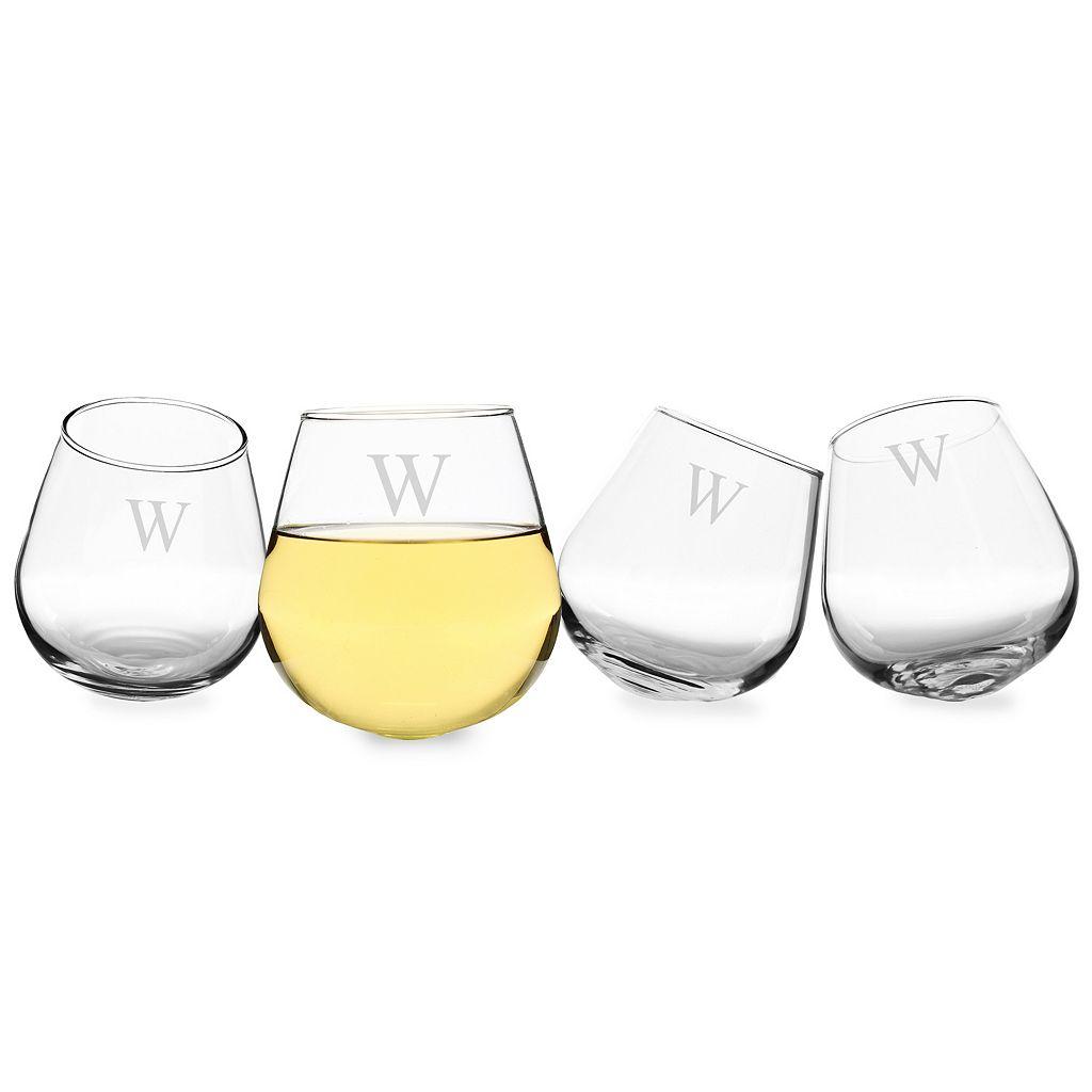 Cathy's Concepts Monogram 4-pc. Tipsy Wine Glass Set