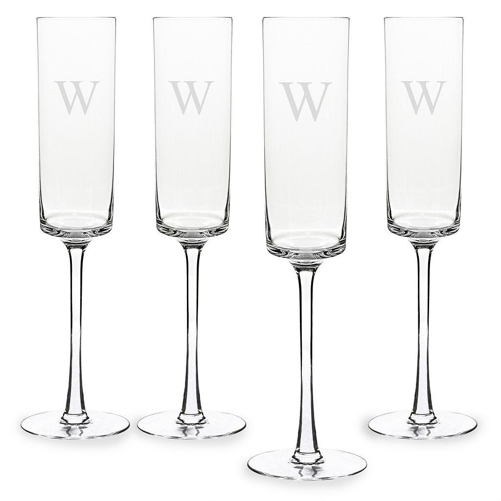 Cathy's Concepts Monogram 4-pc. Contemporary Champagne Flue Set