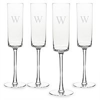 Cathy's Concepts Monogram 4 pc Contemporary Champagne Flue Set