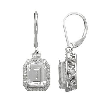 Emotions Cubic Zirconia Sterling Silver Rectangle Halo Drop Earrings