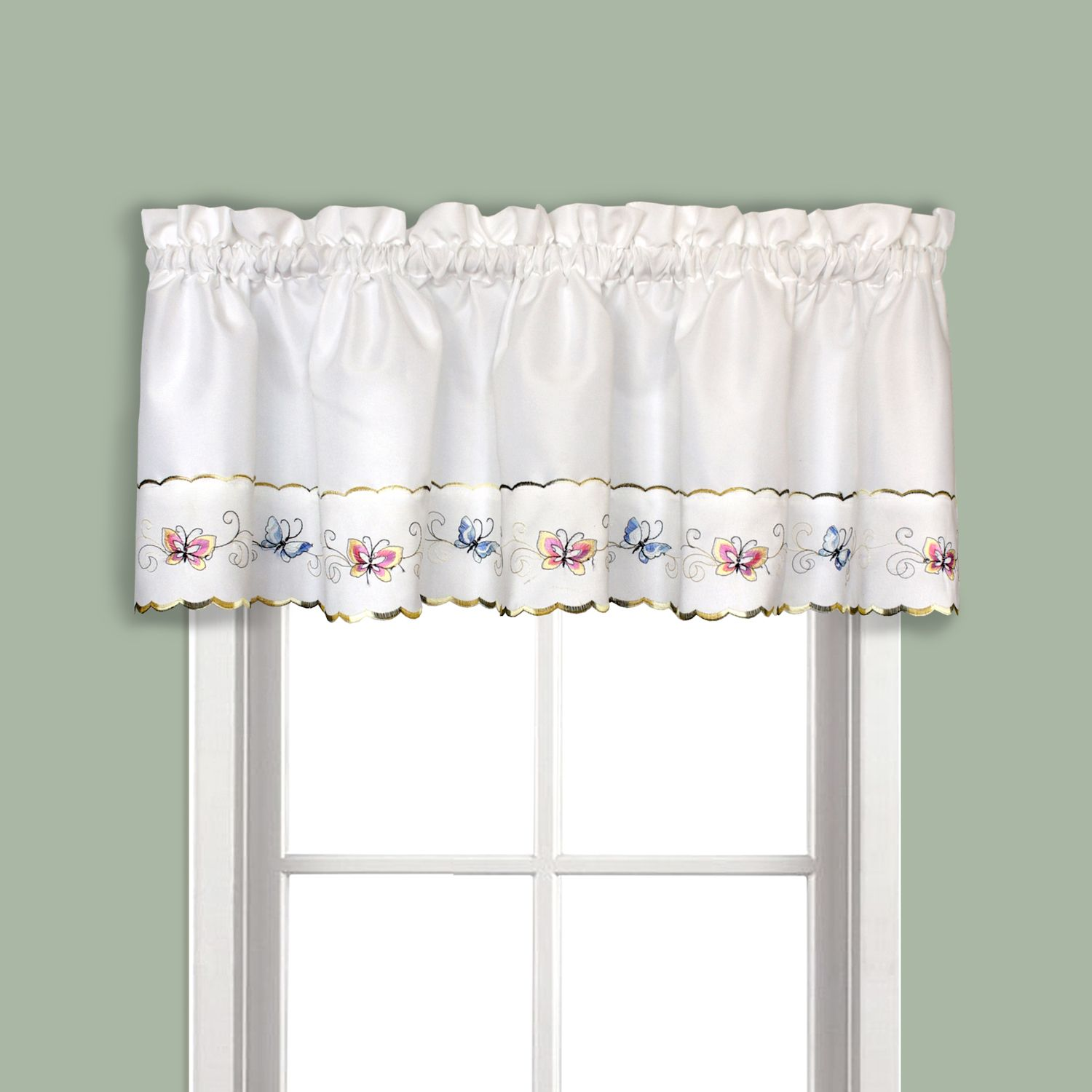 Butterfly Swag Tier Kitchen Window Curtains