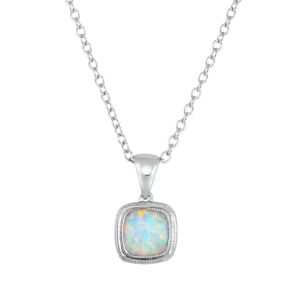Lab-Created Opal Sterling Silver Pendant Necklace