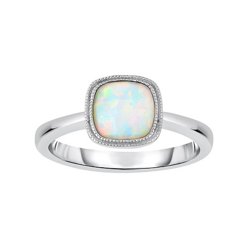 Lab-Created Opal Sterling Silver Ring