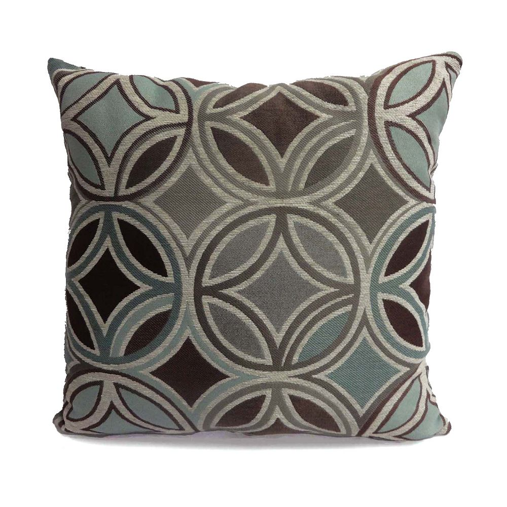 Decorative pillows with blue brown and yellow - Motion Jute Throw Pillow