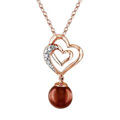 Stella Grace Dyed Freshwater Cultured Pearl and Diamond Accent 10k Rose Gold Heart Pendant Necklace