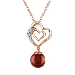 Dyed Freshwater Cultured Pearl and Diamond Accent 10k Rose Gold Heart Pendant Necklace