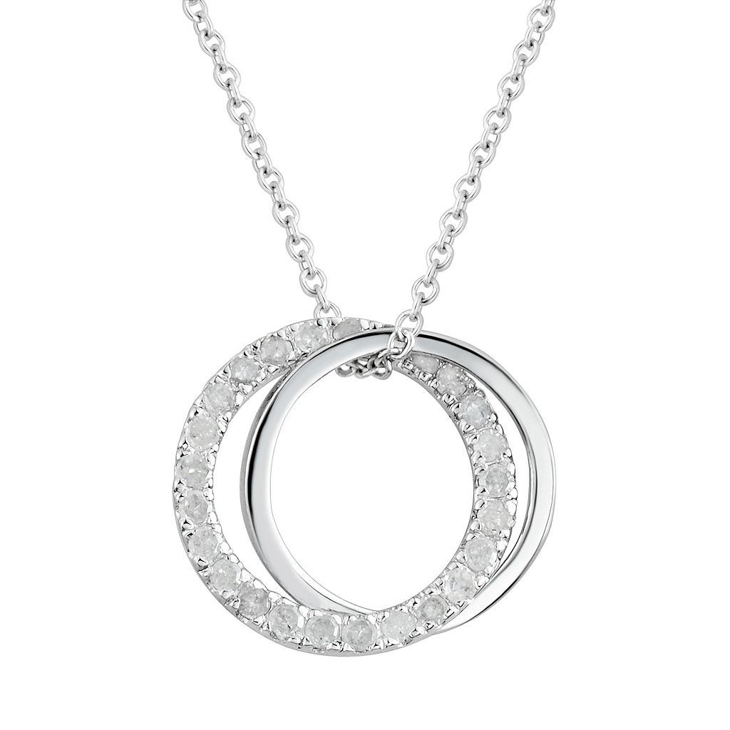 Two Hearts Forever One 1/4 Carat T.W. Diamond Sterling Silver Double Circle Pendant Necklace