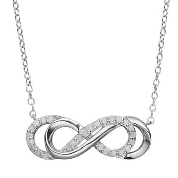 Two hearts forever one 14 carat tw diamond sterling silver double two hearts forever one 14 carat tw diamond sterling silver double infinity necklace aloadofball Image collections