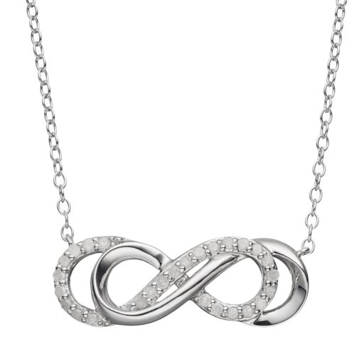 Two Hearts Forever One 1/4 Carat T.W. Diamond Sterling Silver Double Infinity Necklace