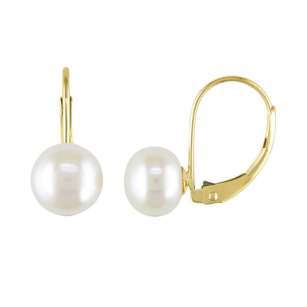 Freshwater Cultured Pearl 10k Gold Drop Earrings