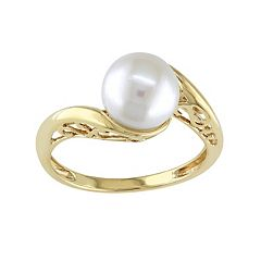 Freshwater Cultured Pearl 10k Gold Swirl Ring
