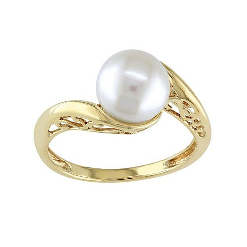 Stella Grace Freshwater Cultured Pearl 10k Gold Swirl Ring