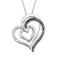 Two Hearts Forever One 1/4 Carat T.W. Black & White Diamond Sterling Silver Heart Pendant Necklace