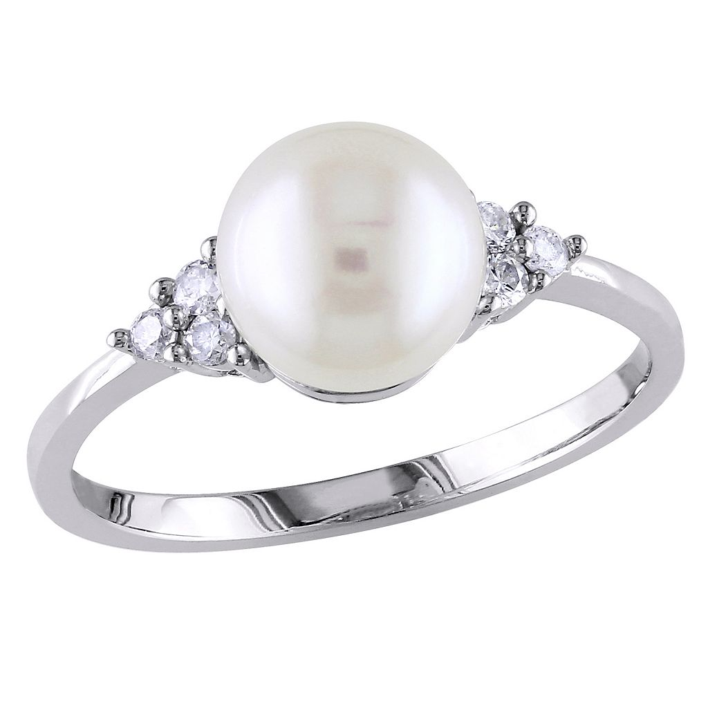 Freshwater Cultured Pearl & 1/8 Carat T.W. Diamond 10k White Gold Ring