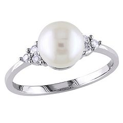 Stella Grace Freshwater Cultured Pearl and 1/8 Carat T.W. Diamond 10k White Gold Ring
