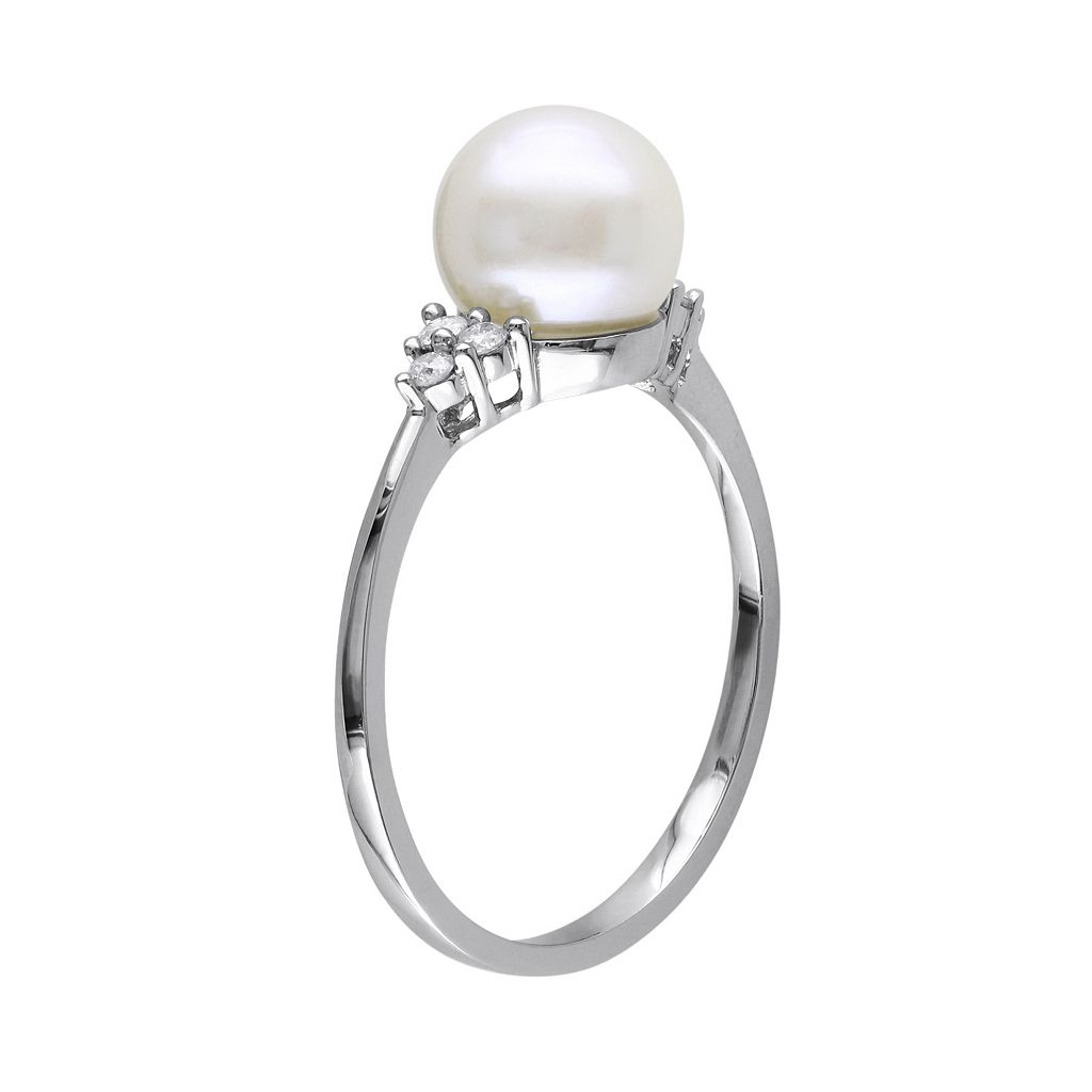 Freshwater Cultured Pearl and 1/8 Carat T.W. Diamond 10k White Gold Ring