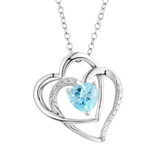 Two Hearts Forever One Blue Topaz & Diamond Accent Sterling Silver Double Heart Pendant Necklace