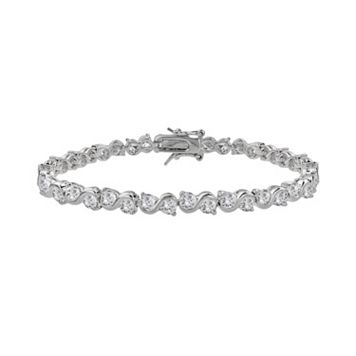 The Silver Lining Cubic Zirconia Silver Tone S-Link Tennis Bracelet