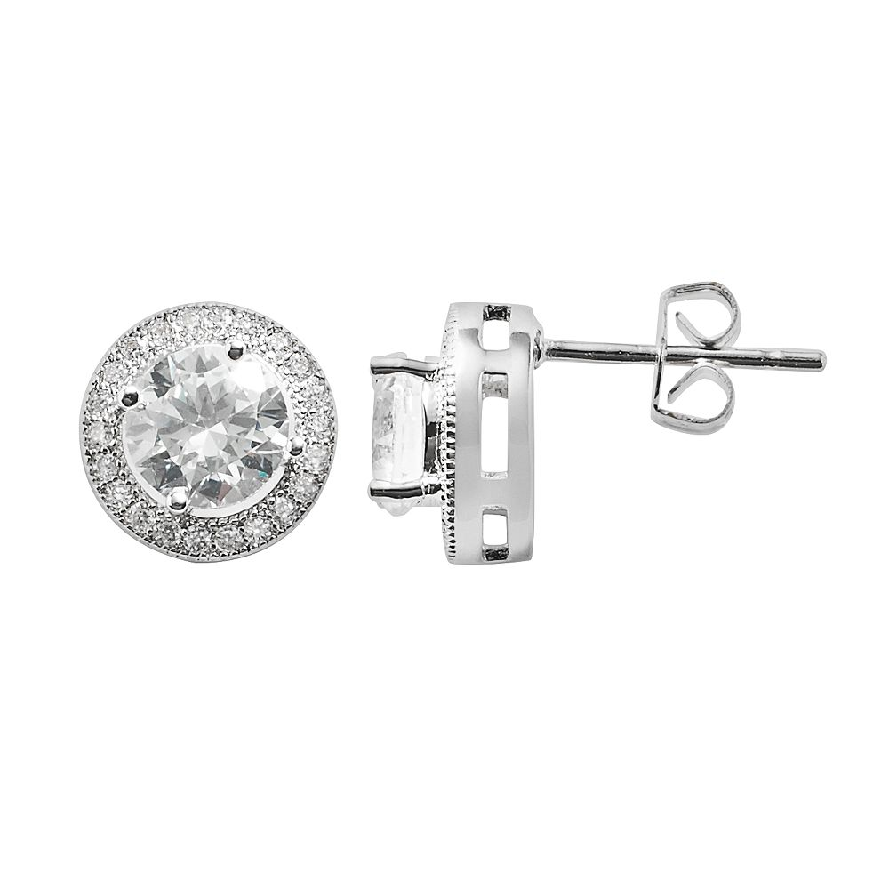 The Silver Lining Cubic Zirconia Silver Tone Halo Stud Earrings