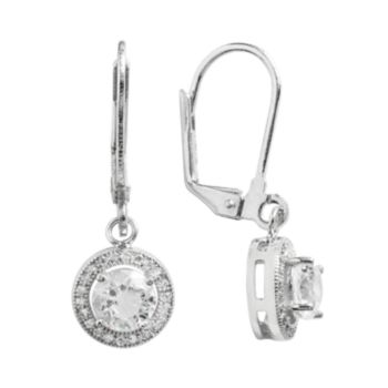 The Silver Lining Cubic Zirconia Silver Tone Halo Drop Earrings