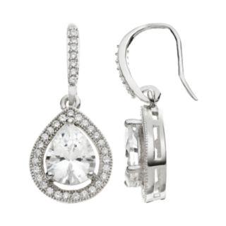 The Silver Lining Cubic Zirconia Silver Tone Teardrop Earrings