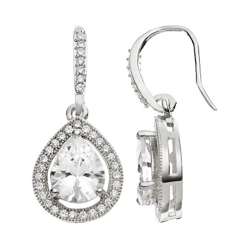 The Silver Lining Cubic Zirconia Silver Tone Teardrop Earrings