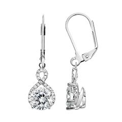 The Silver Lining Cubic Zirconia Silver Tone Twist Drop Earrings