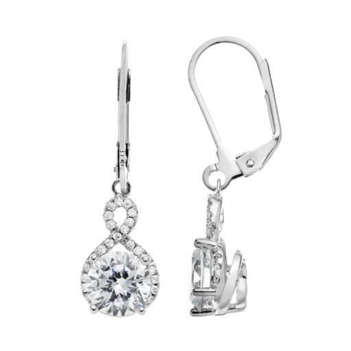 The Silver Lining Cubic Zirconia Silver Tone Twist Drop Earrings