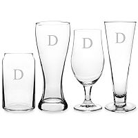 Cathy's Concepts Monogram 4 pc Specialty Beer Glass Set