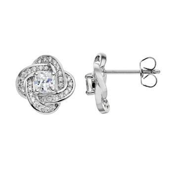 The Silver Lining Cubic Zirconia Silver Tone Love Knot Stud Earrings