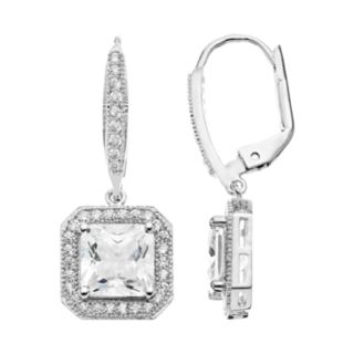 The Silver Lining Cubic Zirconia Silver Tone Octagonal Halo Drop Earrings