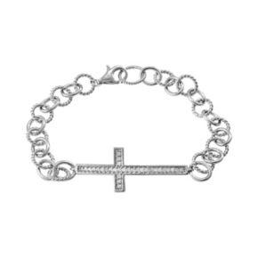 1/4 Carat T.W. Diamond Sterling Silver Sideways Cross Bracelet