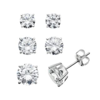 The Silver Lining Cubic Zirconia Silver Tone Stud Earring Set
