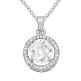 The Silver Lining Cubic Zirconia Silver Tone Halo Pendant