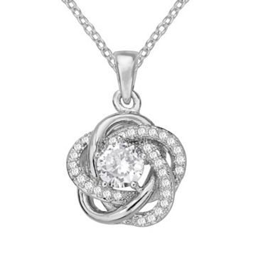 The Silver Lining Cubic Zirconia Silver Tone Love Knot Pendant