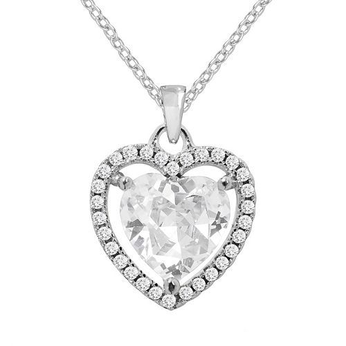 The Silver Lining Cubic Zirconia Silver Tone Halo Heart Pendant
