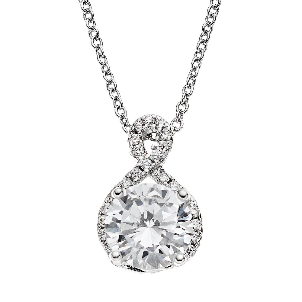 The Silver Lining Cubic Zirconia Silver Tone Twist Pendant Necklace