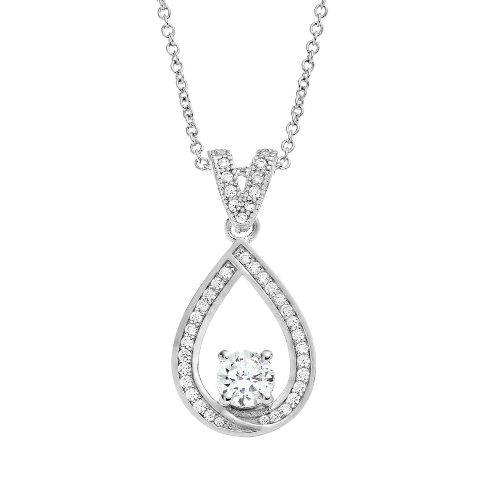 The Silver Lining Cubic Zirconia Silver Tone Teardrop Pendant Necklace