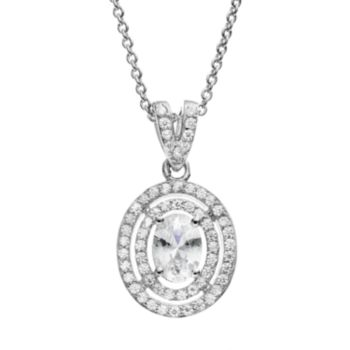 The Silver Lining Cubic Zirconia Silver Tone Oval Halo Pendant Necklace