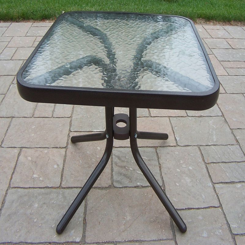 Glass Top Outdoor End Table, Brown