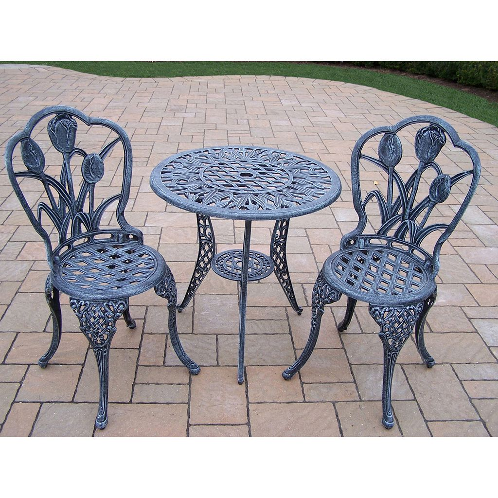 Tulip Cast Aluminum Outdoor Bistro Table 3-piece Set