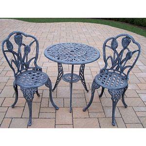 Tulip Cast Aluminum Outdoor Bistro Table 3-piece Set