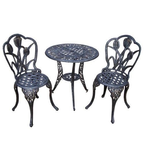 Tulip Cast Aluminum Outdoor Bistro Table 3 Piece Set