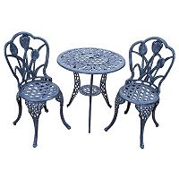 Tulip Cast Aluminum Outdoor Bistro Table 3 pc Set