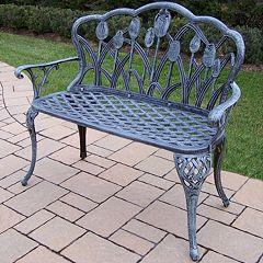 Tulip Cast Aluminum Outdoor Bench
