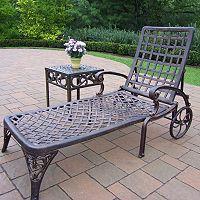 Elite Cast Aluminum Outdoor Chaise Lounge Chair 2 pc Set