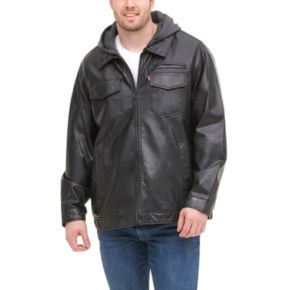Big & Tall Levi's Faux-Leather Hooded Jacket